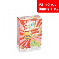 Egoji Chewy Gummy Strawberry Box (5 Sachet @ 20gr) (PAKET ISI 12pcs BONUS 1pc)