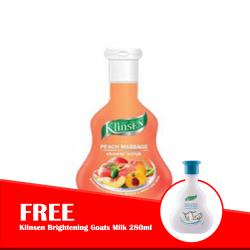 Klinsen Shower Scrub Peach Massage 280ml (FREE Klinsen Brightening Goats Milk 280ml)