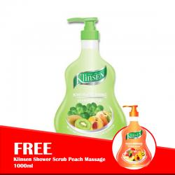 Klinsen Shower Scrub Kiwi ReFreshing 1000ml (FREE Klinsen Shower Scrub Peach Massage 1000ml)