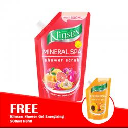 Klinsen Shower Scrub Mineral Spa 500ml Refill (FREE Klinsen Shower Gel Energizing 500ml Refill)