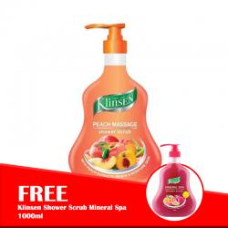 Klinsen Shower Scrub Peach Massage 1000ml (FREE Klinsen Shower Scrub Mineral Spa 1000ml)