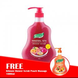 Klinsen Shower Scrub Mineral Spa 1000ml (FREE Klinsen Shower Scrub Peach Massage 1000ml)
