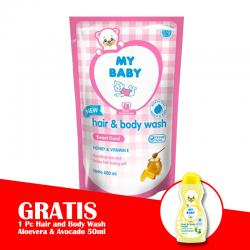 My Baby Hair and Body Wash Sweet Floral Refill 400ml (GRATIS 1pc My Baby Hair and Body Wash Aloevera and Avocado 50ml)
