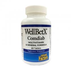 Natural Factors Wellbetx Comdiab Multivitamin and Mineral Formula (60 Tablets)