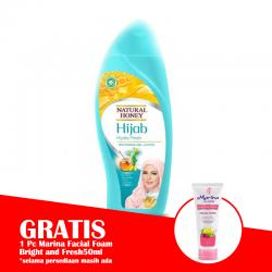 Natural Honey Hand and Body Lotion Hijab Hydra Fresh 450ml (BONUS 1 Pc Marina Facial Foam Bright and Fresh 50ml)