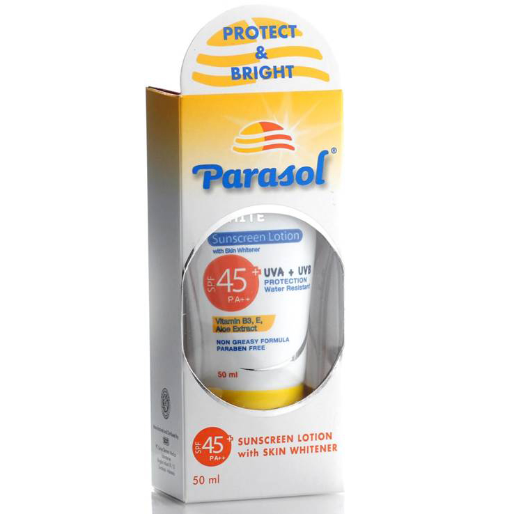 Parasol Sunscreen Lotion Whitener SPF 45 50gr | Gogobli
