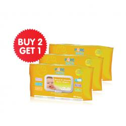 Pure Baby Hand and Mouth Baby Wipes Orange 60s Buy 2 Get 1 Free