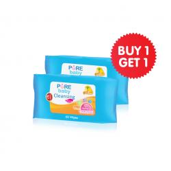 Pure Baby  Cleansing Wipes Lemon 60s Buy 1 Get 1 Free