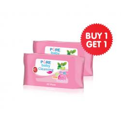 Pure Baby Cleansing Wipes Tea Olive 60s Buy 1 Get 1 Free