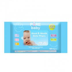 Pure Baby Hand & Mouth Baby Wipes Aloevera 60s