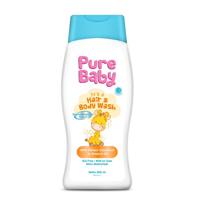 Pure Baby Hair And Body Wash With Colostrum Extract And Almond Oil 200ml | Gogobli