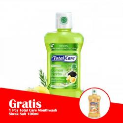 Total Care Mouthwash Lemon Herbs Protection 250ml (GRATIS 1 Pc TOTAL CARE MOUTHWASH SIWAK SEA SALT 100ml)